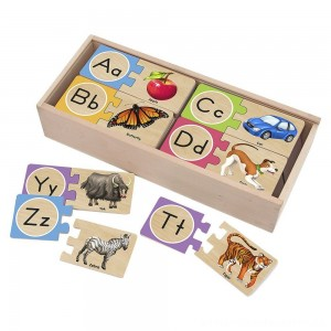 Melissa & Doug Self-Correcting Alphabet Wooden Puzzles With Storage Box 27pc [ Sale ]
