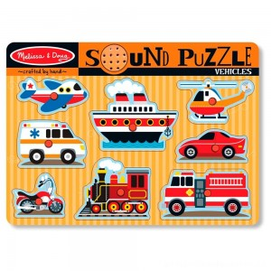 Melissa & Doug Vehicles Sound Puzzle - 8pc [ Black Friday Sale ]