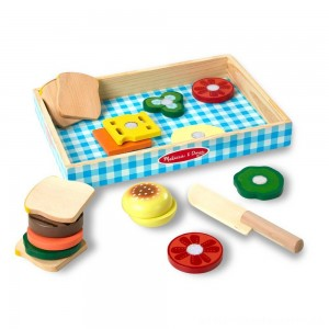 Melissa & Doug Wooden Sandwich-Making Pretend Play Food Set [ Sale ]