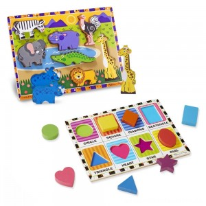 Melissa & Doug Wooden Chunky Puzzle Set - Wild Safari Animals and Shapes 16pc