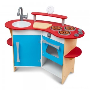 Melissa & Doug Cook's Corner Wooden Kitchen Pretend Play Set [ Sale ]