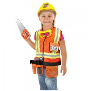 Melissa & Doug Construction Worker Role Play Costume Dress-Up Set (6pc), Adult Unisex, Size: Large, Gold/Orange/Yellow [ Sale ]