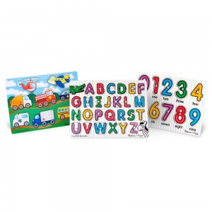 Melissa & Doug Wooden Peg Puzzles Set - Alphabet, Numbers, and Vehicles 44pc [ Sale ]