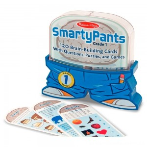 Melissa & Doug Smarty Pants 1st Grade Card Set - 120 Educational, Brain-Building Questions, Puzzles, and Games, Kids Unisex [ Sale ]