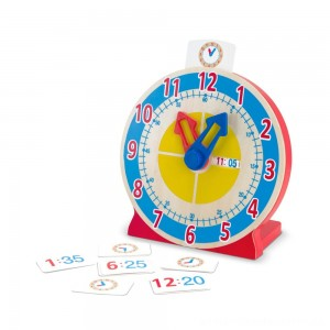 Melissa & Doug Turn & Tell Wooden Clock - Educational Toy With 12+ Reversible Time Cards [ Sale ]