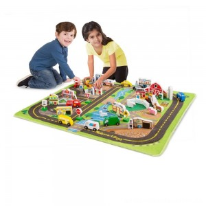 Melissa & Doug Deluxe Activity Road Rug Play Set with 49pc Wooden Vehicles and Play [ Black Friday Sale ]