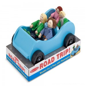 Melissa & Doug Road Trip Wooden Toy Car and 4 Poseable Dolls (4-5 inches each) [ Black Friday Sale ]