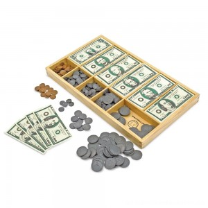 Melissa & Doug Play Money Set - Educational Toy With Paper Bills and Plastic Coins (50 of each denomination) and Wooden Cash Drawer for Storage [ Black Friday Sale ]
