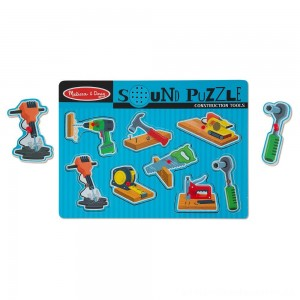 Melissa & Doug Construction Tools Sound Puzzle - Wooden Peg Puzzle (8pc) [ Sale ]