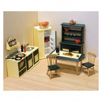 Melissa & Doug Classic Wooden Dollhouse Kitchen Furniture (7pc) - Buttery Yellow/Deep Green [ Sale ]