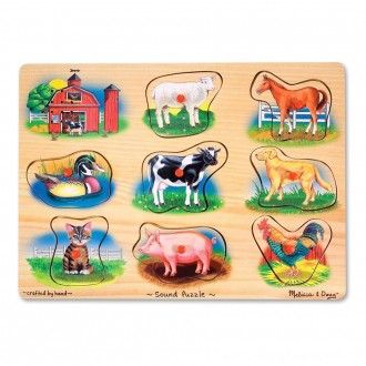 Melissa And Doug Farm Wooden Peg Sound Puzzle 8pc [ Sale ]