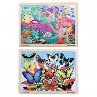 Melissa & Doug Wooden Jigsaw Puzzle Set - Mermaids and Butterflies 96pc [ Black Friday Sale ]