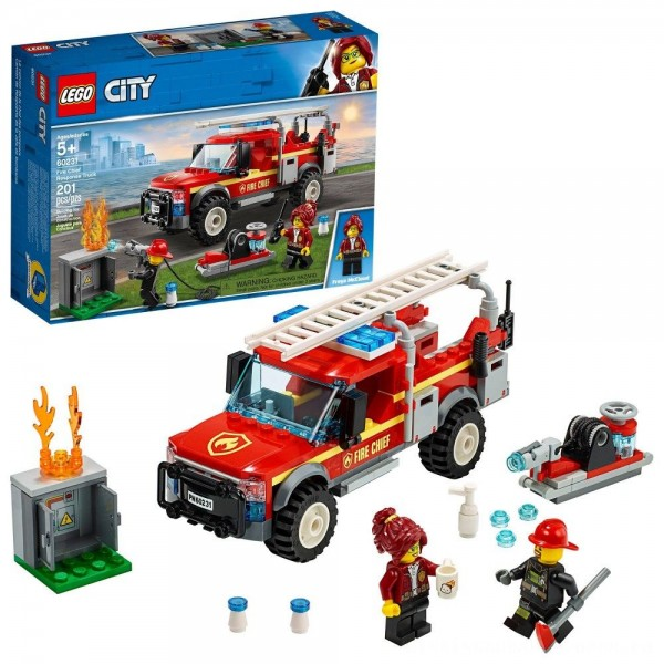 LEGO City Fire Chief Response Truck 60231 Building Set with Toy Firetruck and Ladder 201pc [ Sale ]
