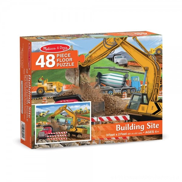 Melissa And Doug Building Site Jumbo Floor Puzzle 48pc [ Sale ]