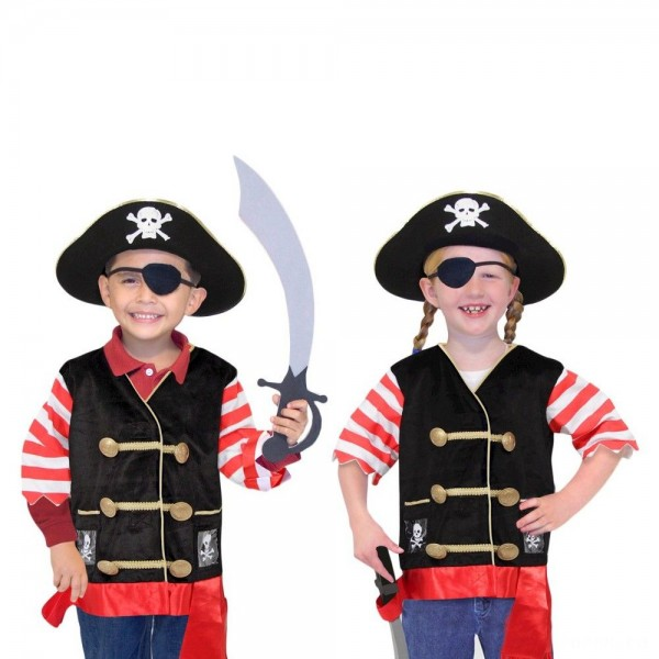 Melissa & Doug Pirate Role Play Costume Dress-Up Set With Hat, Sword, and Eye Patch, Adult Unisex, Black [ Sale ]