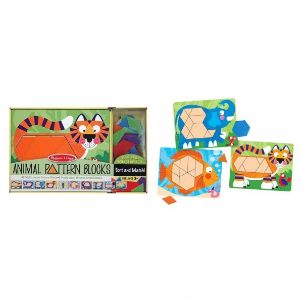Melissa & Doug Animal Pattern Blocks Set With 5 Double-Sided Wooden Boards and 47 Multi-Shaped Blocks [ Black Friday Sale ]
