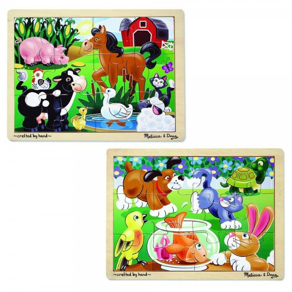 Melissa & Doug Animals Wooden Jigsaw Puzzles Set - Pets and Farm Life (24pc) [ Sale ]