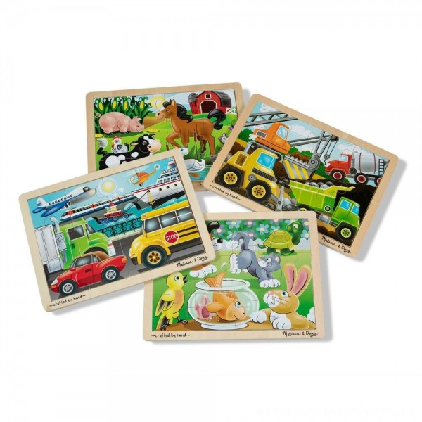 Melissa & Doug Wooden Jigsaw Puzzles Set: Vehicles, Pets, Construction, and Farm 4 puzzles 48pc [ Sale ]