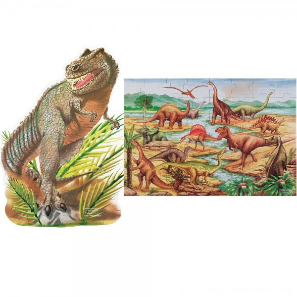 Melissa & Doug Dinosaur and T-Rex 2pk Floor Puzzle [ Sale ]