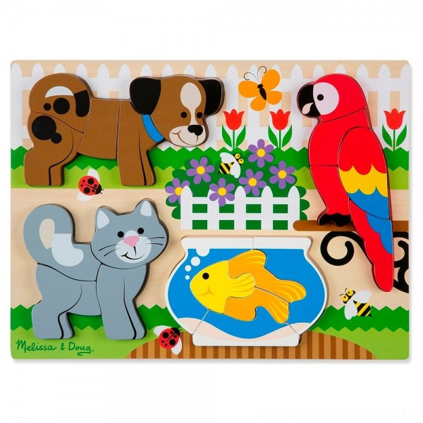 Melissa & Doug Pets Wooden Chunky Jigsaw Puzzle - Dog, Cat, Bird, and Fish (20pc)